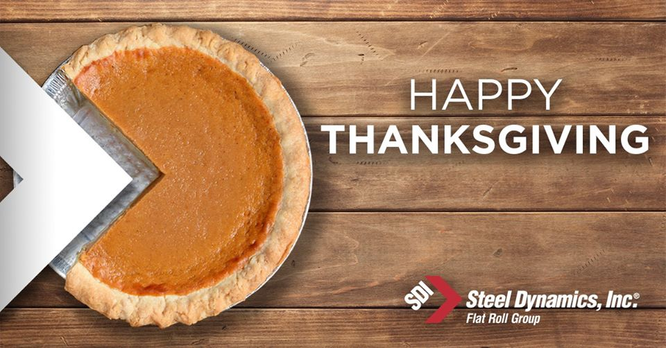 Happy Thanksgiving from SDI a Pie is cut out and the SDI logo is placed inside